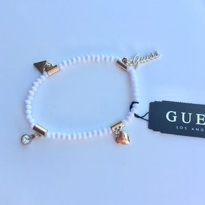 🌸Guess white Four Charm Stretchy Bracelet